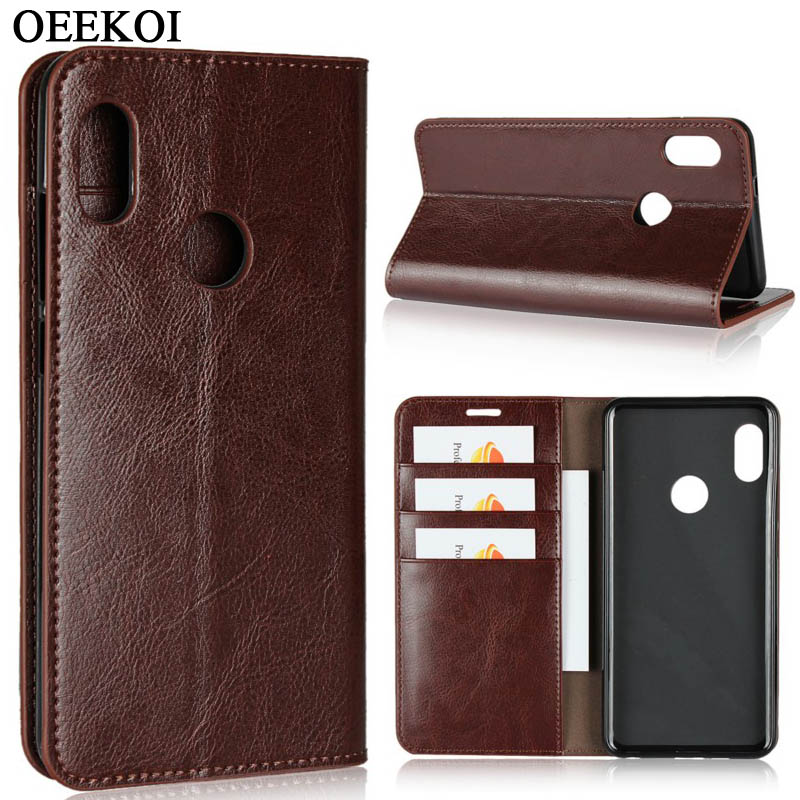 OEEKOI Crazy Horse Genuine Leather Wallet Flip Case for Xiaomi Redmi 7A/7/K20/Note 7/Note 6/6 Pro/S2/6A/6/Note 5/Note 4X/5 Plus