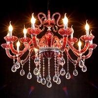 Living Room Red Led Home Chandelier Novelty Lighting Modern Large Purple Crystal Chandelier Lustres De Cristal