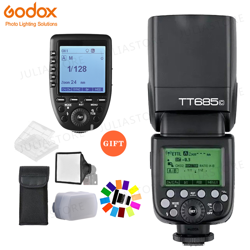 Godox TT685C TTL Camera Flash 2.4GHz High Speed 1/8000s GN60 + Xpro-C TTL Wireless Transmitter for Canon Eos Camera+GiftGodox TT685C TTL Camera Flash 2.4GHz High Speed 1/8000s GN60 + Xpro-C TTL Wireless Transmitter for Canon Eos Camera+Gift