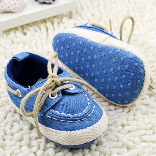 2017 Baby Boy Girl Blue Sneakers Soft Bottom Crib Shoes Size Newborn to 18 Months