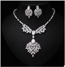 Classic Bridal Necklace Earring Sets Cluster Marquise Cubic Zircon Wedding Jewelry Sets For Fashion Women(China)