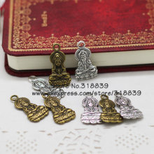 Antique Metal Zinc Alloy Religious Buddha Charms Jewelry Goddess of Mercy Pendant Charms Making 30pcs/lot 14*27mm 7070(China)