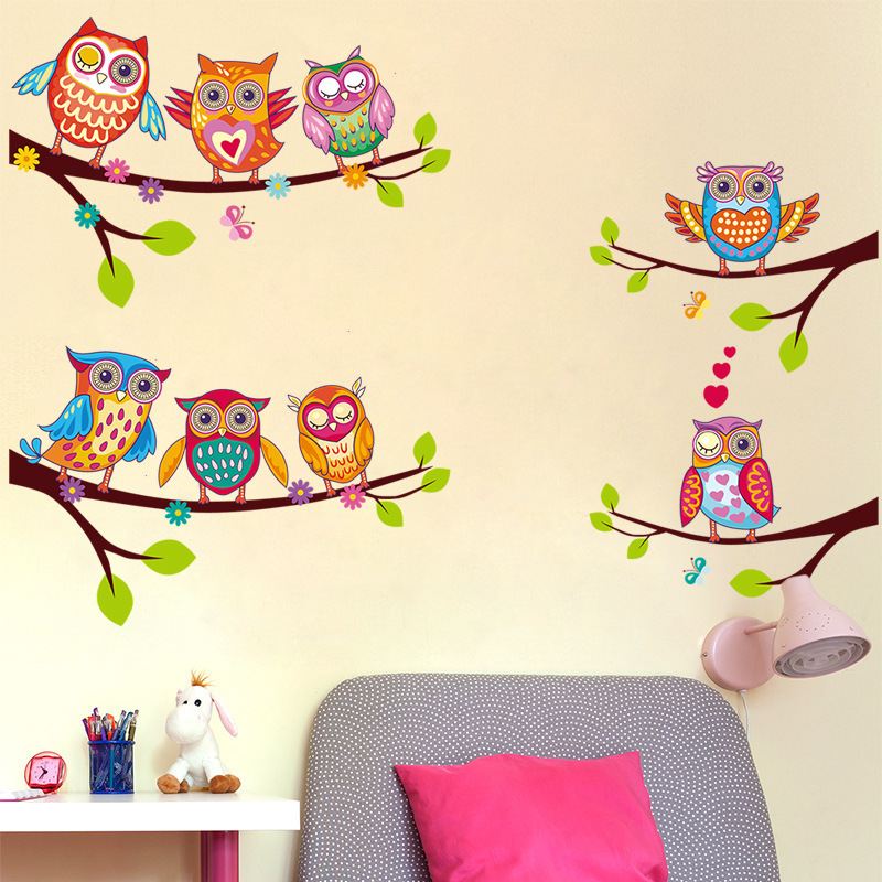 Colorful Owls Cartoon Wall Stickers on The Tree Children Room Home Decor Decals for Kids Rooms Removable