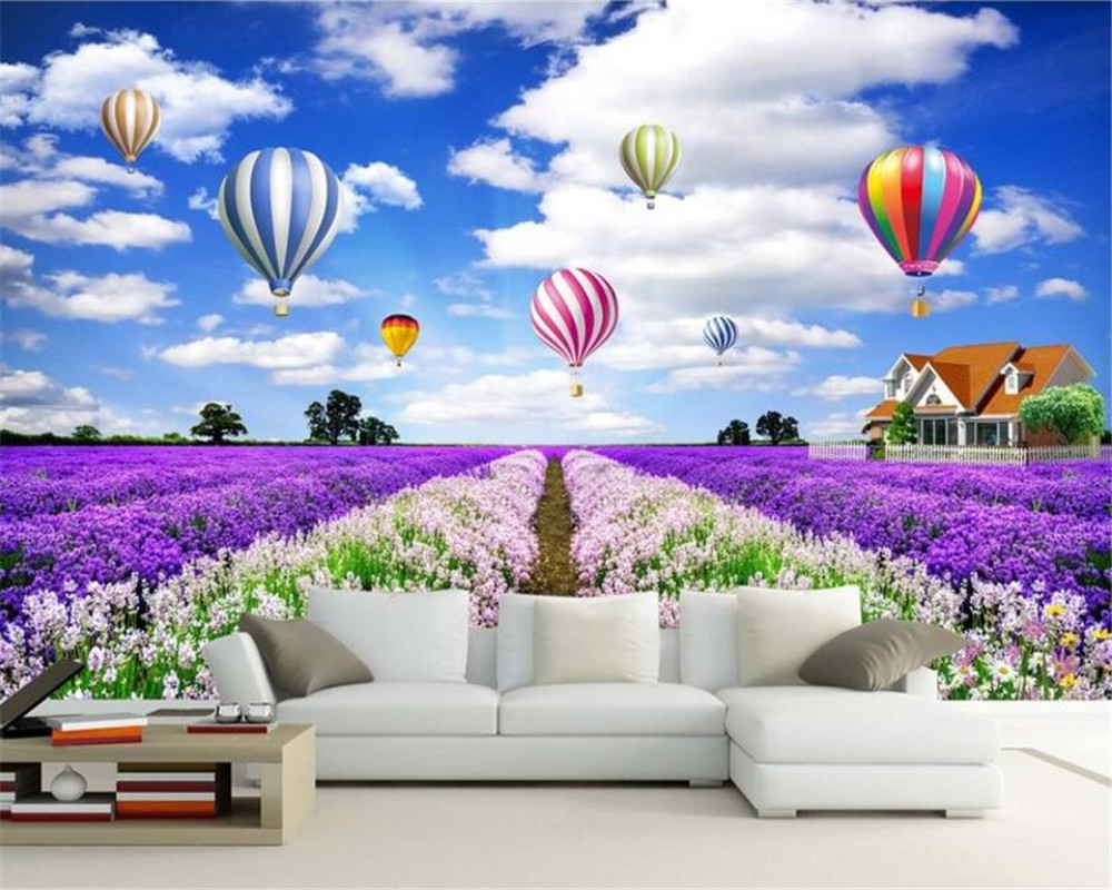 beibehang Custom Photo Wallpaper Blue Sky White Cloud Hot Air Balloon Lavender Flower Beautiful Flower TV Background Wallpaper beibehang custom wallpaper 3d beautiful