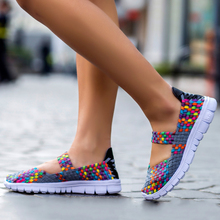 2018 Autumn Women Flats Sandals Shoes Woven Ladies Multi Colors Slip on Light Weight Girls Fashion loafers