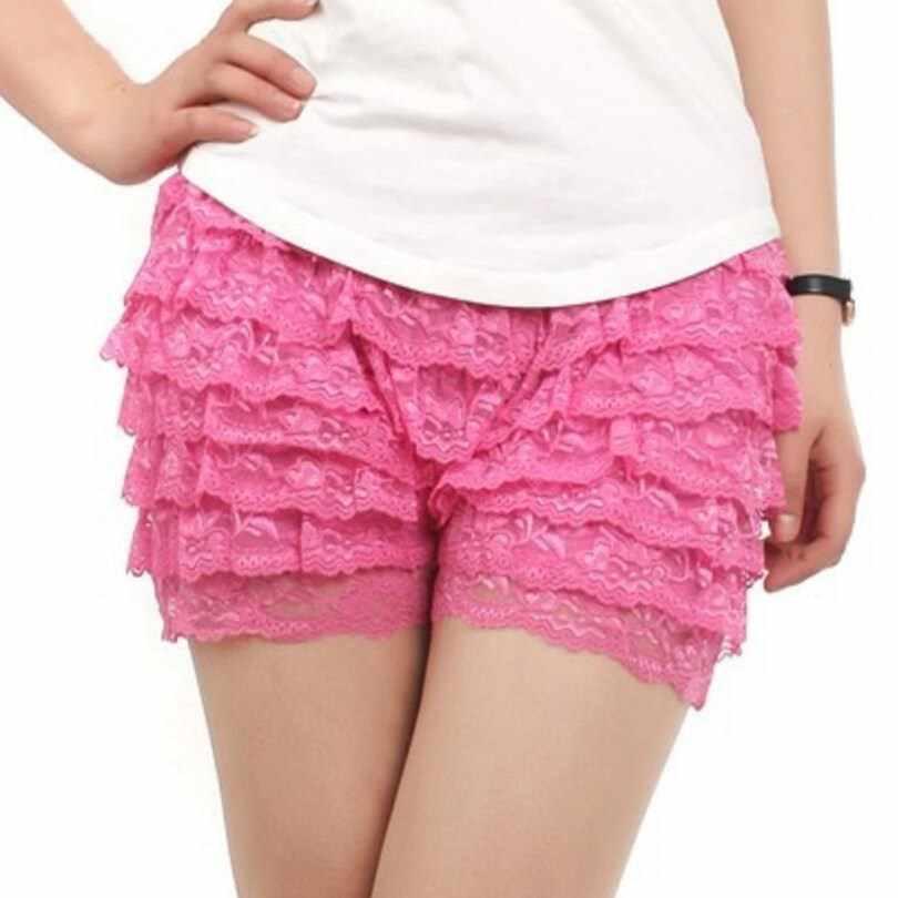 VIIANLES/женские летние модные тонкие кружевные шорты с эластичной резинкой на талии для девочек; повседневные шорты с высокой талией; уличная одежда; Цвет черный, белый; короткие шорты для девочек
