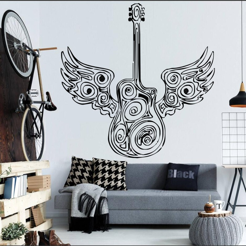 Special Guitar With Angel Wings Art Design Wall Sticker Bedroom Home