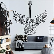 Special Guitar With Angel Wings Art Design Wall Sticker Bedroom Home Art Decor Mural Eletro Jazz Music Instrument Decal Y-920 art blakey art blakey the jazz messengers mosaic