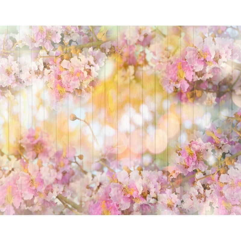 Bokeh Flowers Wedding: Newborn Floral Vinyl Cloth Flower Wood Wall Bokeh