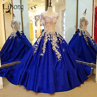 Abendkleider 2018 Dubai Evening Dresses Vintage Royal Blue Long Prom Gowns Embroidery Lace Arabia Ball Goens Crystal Bow