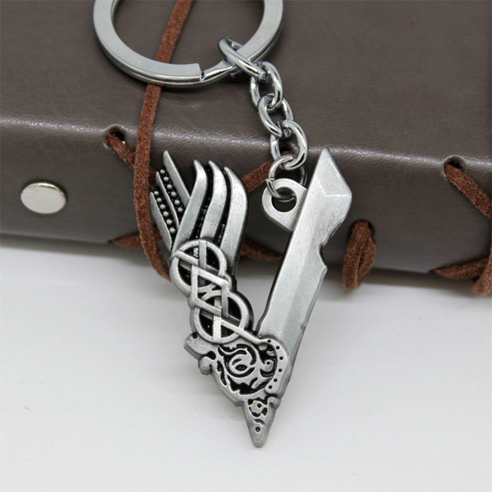 Film Vikings Cosplay Key Chain Pendant Necklace Silver Color Charms Ragnar Lothbrok Metal Chaveiro Jewelry Accessories Llavero
