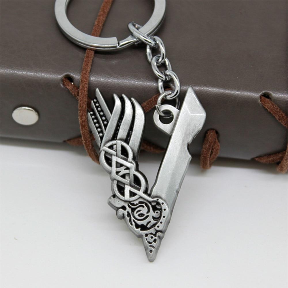21cd53e03159 Película Vikings cosplay Llavero colgante collar plata color encantos  Ragnar Lothbrok metal Chaveiro accesorios de la joyería Llavero