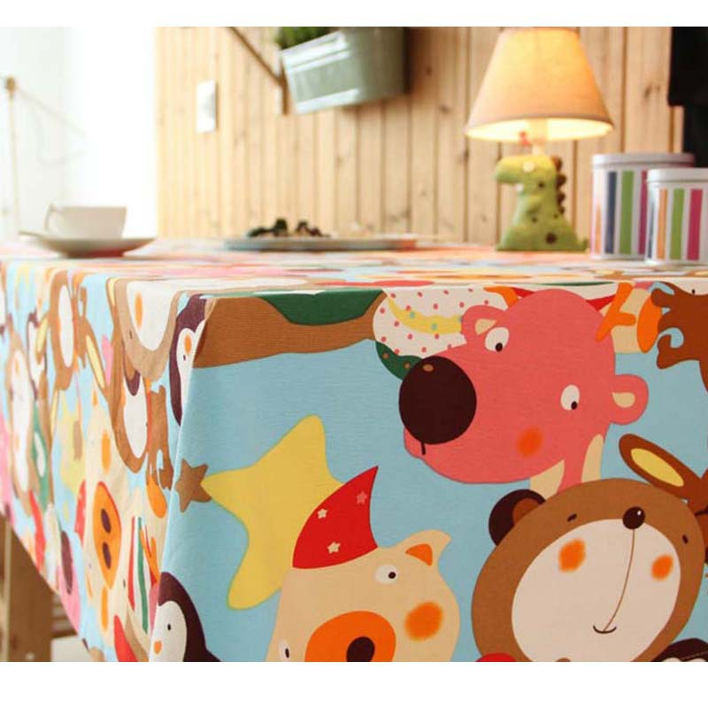 Woven Cotton Linen Classic Cartoon Children Animal Tablecloth Canvas Waterproof High Quality Stlye Table Cloth for Restaurant