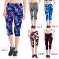 Womens Three Quarter Length Printing Legging Pants Breathable Pants High Waisted Trousers