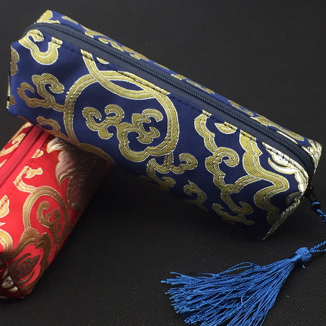 China Ancient Style Embossing Clutch Bag with Tassel for Pen Makeup Coin