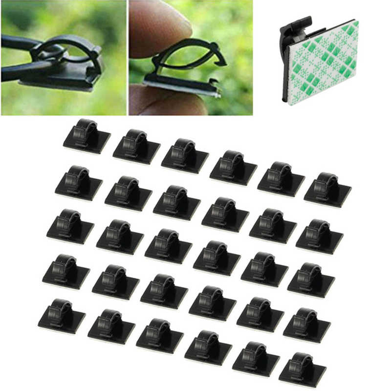 30Pcs/lot Plastic Office Car Wire Cord Pasted Flat Cable Holder Tie Clips Fixer Organizer Winder Rectangle Mount Clamp