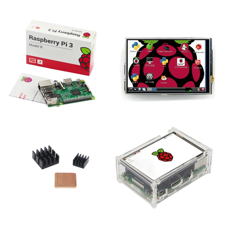 Prix pour ROYAUME-UNI Fait Raspberry Pi 3 Modèle B Conseil + 3.5 pouce LCD TFT Écran Tactile + Acrylique Cas + dissipateur de Chaleur pour RPI3 Livraison Gratuite