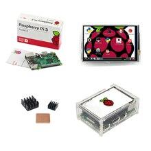 Великобритании сделал Raspberry Pi 3 Модель B доска + 3.5 дюймов TFT ЖК-дисплей сенсорный экран + акриловый чехол + теплоотвод Для RPI3 Бесплатная доставка