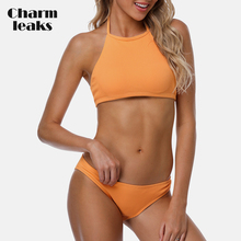 Charmleaks Women Bikini Set Collar Halter Swimwear Solid Color Swimsuit Backless Bathing Suit Beachwear Sexy Bikini sexy style solid color lace splicing bikini set for women