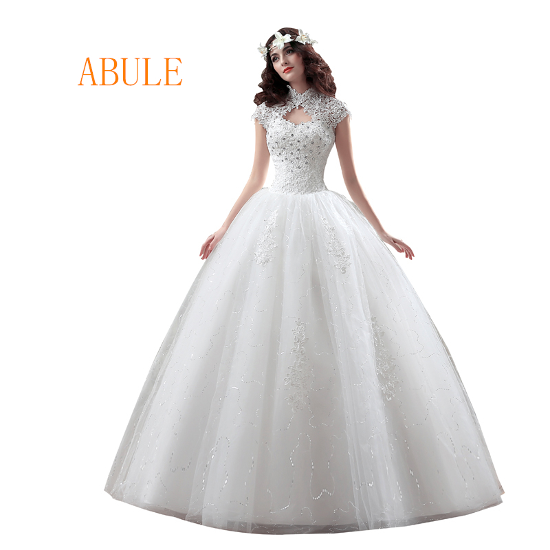 abule wedding dress vintage appliques beading lace up high neck wedding gowns Elegant beautiful crystal vestidos de noiva