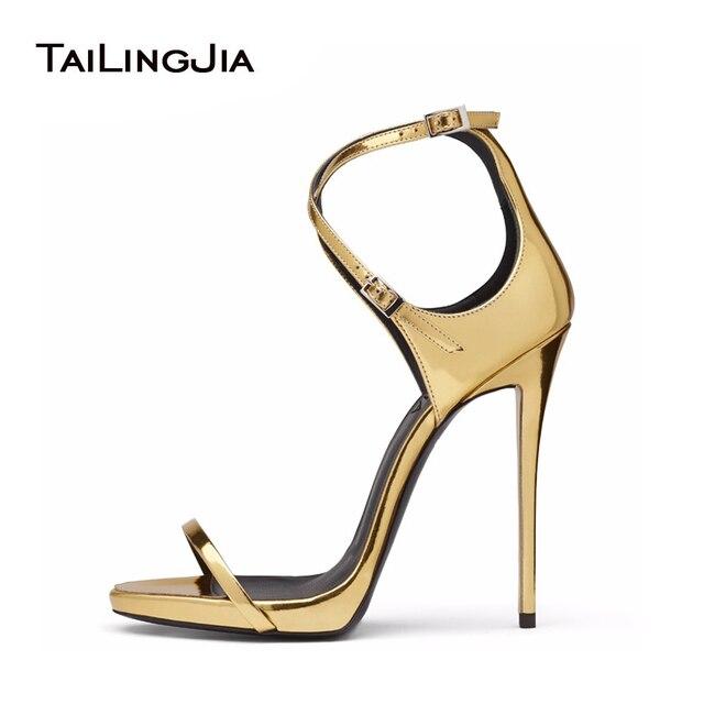 91f8a590 Mujeres marcas bola zapatos de noche zapatos de tacón alto de oro de cuero  sandalias de