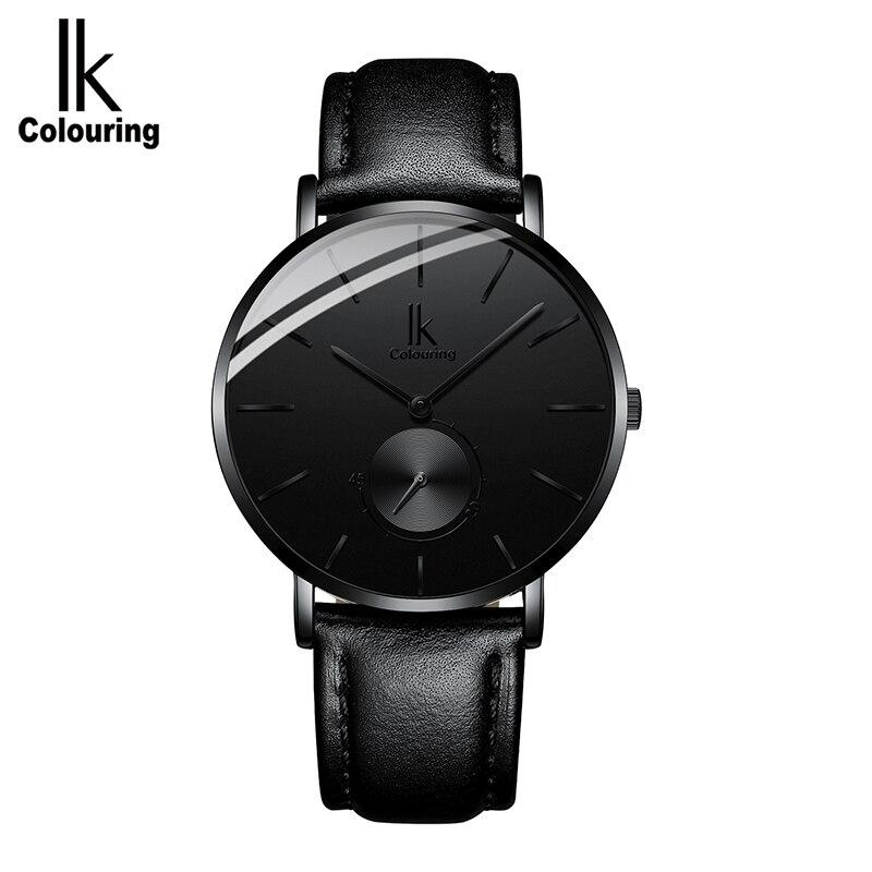 Minimaliste simple ik marque de luxe montres hommes 2018 montre bracelet à Quartz en cuir véritable horloge relogio Masculino-in Montres à quartz from Montres    2