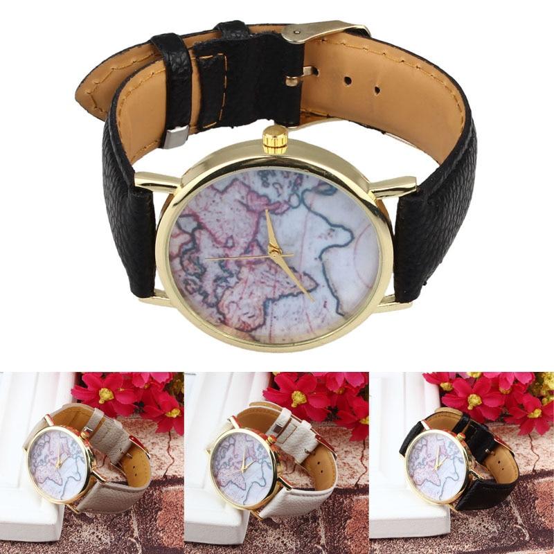 Wrist Watches Clock Earth Quartz Feminino Vintage Relojes Women World-Map Gift Mujer