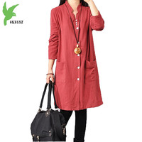 Spring Summer Women S Cotton Linen Dress New Fashion Solid Color Single Breasted Shirt Dress Plus