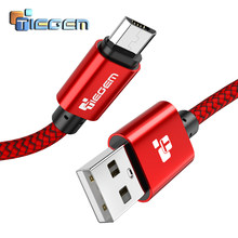 TIEGEM Micro USB Kabel 2A Nylon Snel Opladen USB Data Kabel voor Samsung HTC Xiaomi LG Sony Android Mobiele Telefoon USB Oplaadsnoer(China)