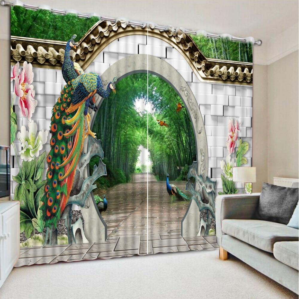 Custom 3d Chinese Curtains Modern Photo Beautiful Peacock