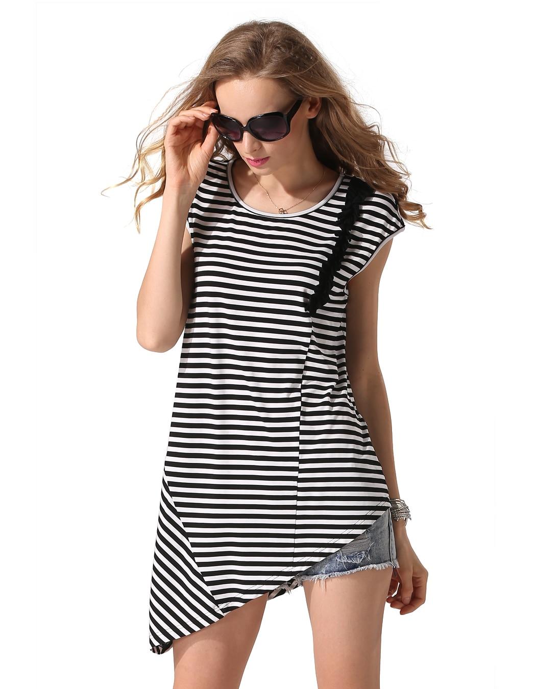 Finejo Для женщин дна рубашки модные женские без рукавов черный, белый цвет в полоску для отдыха свободные Повседневное Нерегулярные футболка ...