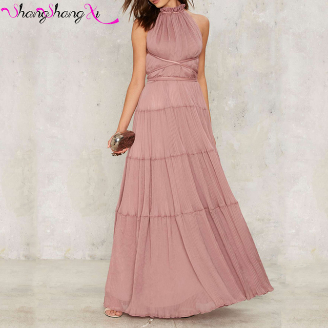 Romantic Smoke pink A line Formal Evening Dresses Sexy Backless ...