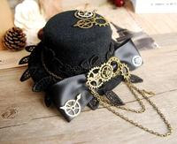 Handmade DIY Gothic Lolita Cosplay Mini Top Hat With Flowers Steampunk Retro Gears Hats For Men