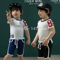 2015 Brand children's clothes Cotton summer kids striped clothing sets Beach clothes casual sport style baby boys clothing suit