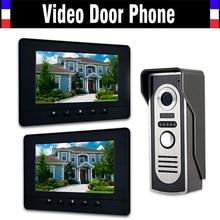 """7 """" LCD 2 unids Monitor Video de la puerta teléfono sistema de intercomunicación del timbre seguridad para el hogar Kits de intercomunicación IR cámara Intercom timbre de la puerta portero automático"""