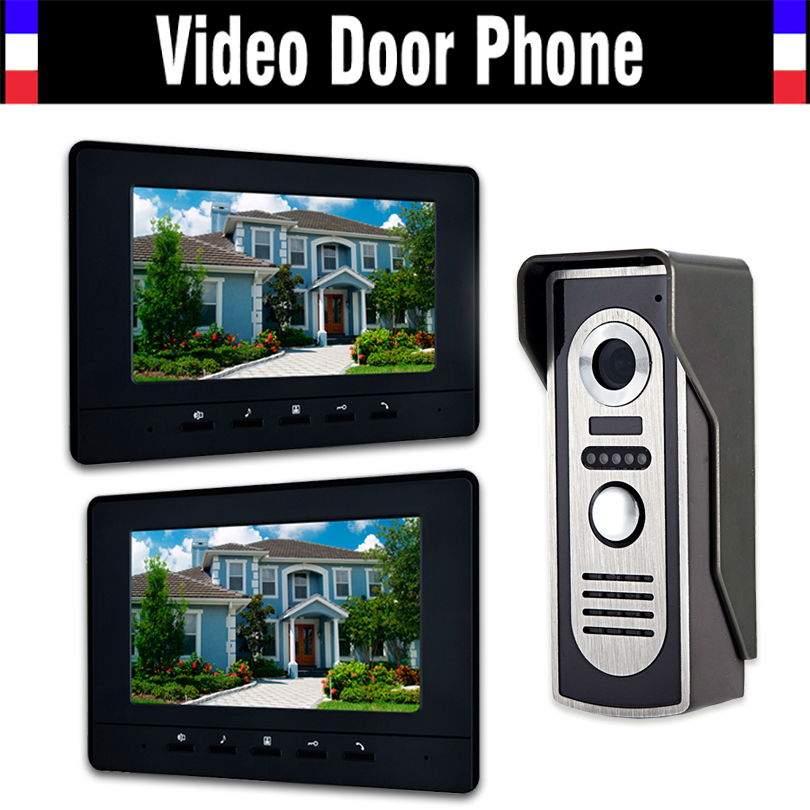 7 LCD 2pcs Monitor Video Door Phone Intercom Doorbell System Home Security Intercom Kits IR Camera Door bell Intercom Doorphone