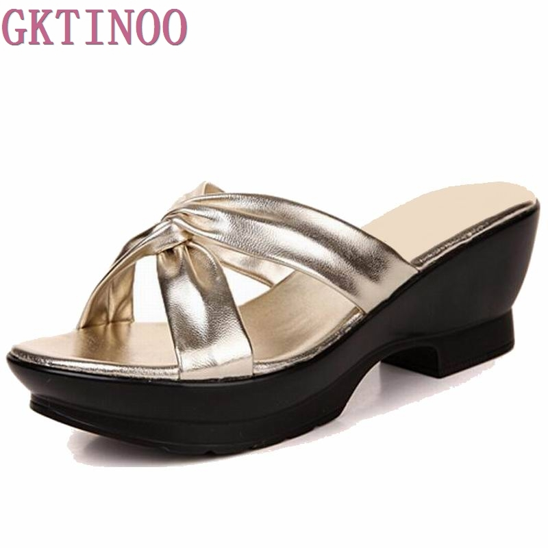 Fashion Sheepskin Women sandals comfortable geuine leather thick heels women's summer shoes platform sandal plus size 35-42 2017 women thick heels sandals covered toe shoes shallow mouth summer genuine leather cutout women sandal plus size