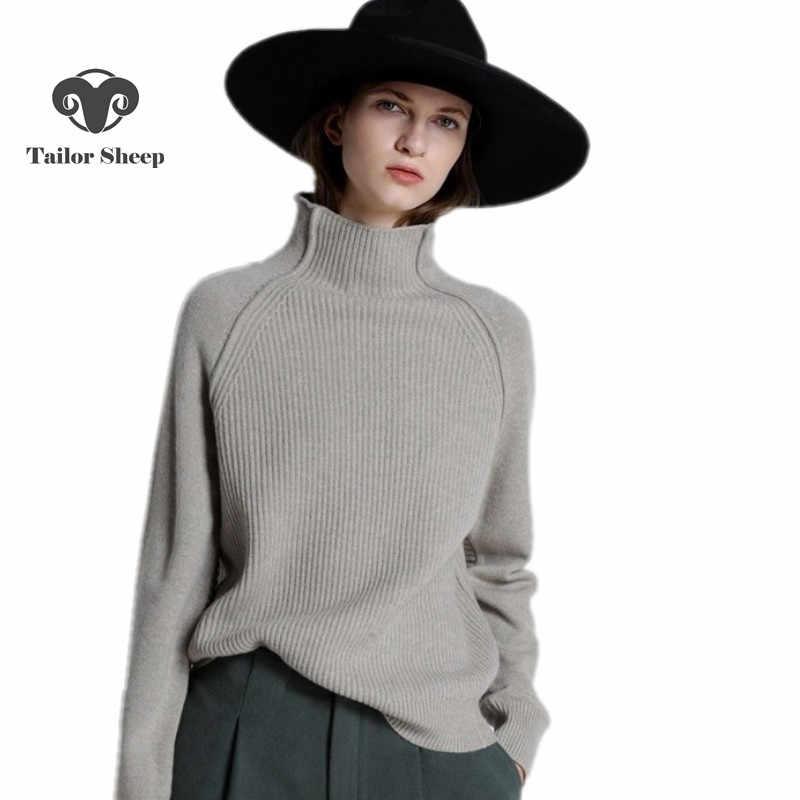 Suéter de Cachemira de cuello alto de otoño invierno suéter de punto grueso suelto de lana suéter casual de las mujeres