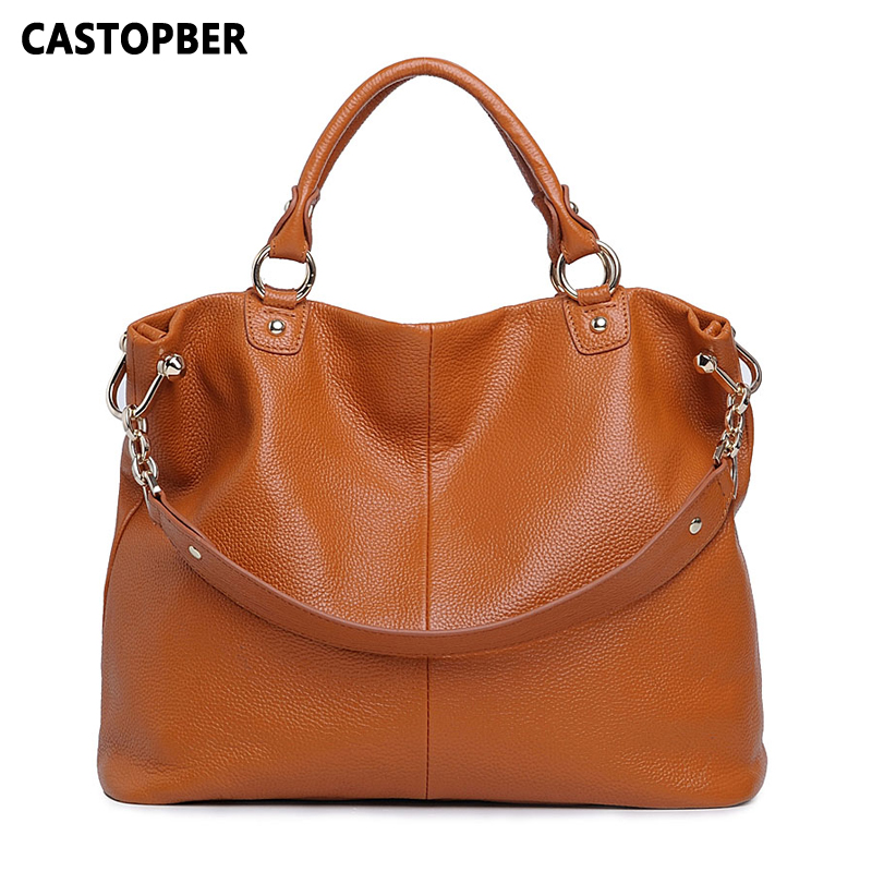 Fashion European And American Style Women Big Bag Shoulder Female Genuine Leather 100% First Layer Cowhide Tote Handbag Ladies teemzone top european and american fashion evening bag ladies genuine leather long style hasp note compartment wallet j25
