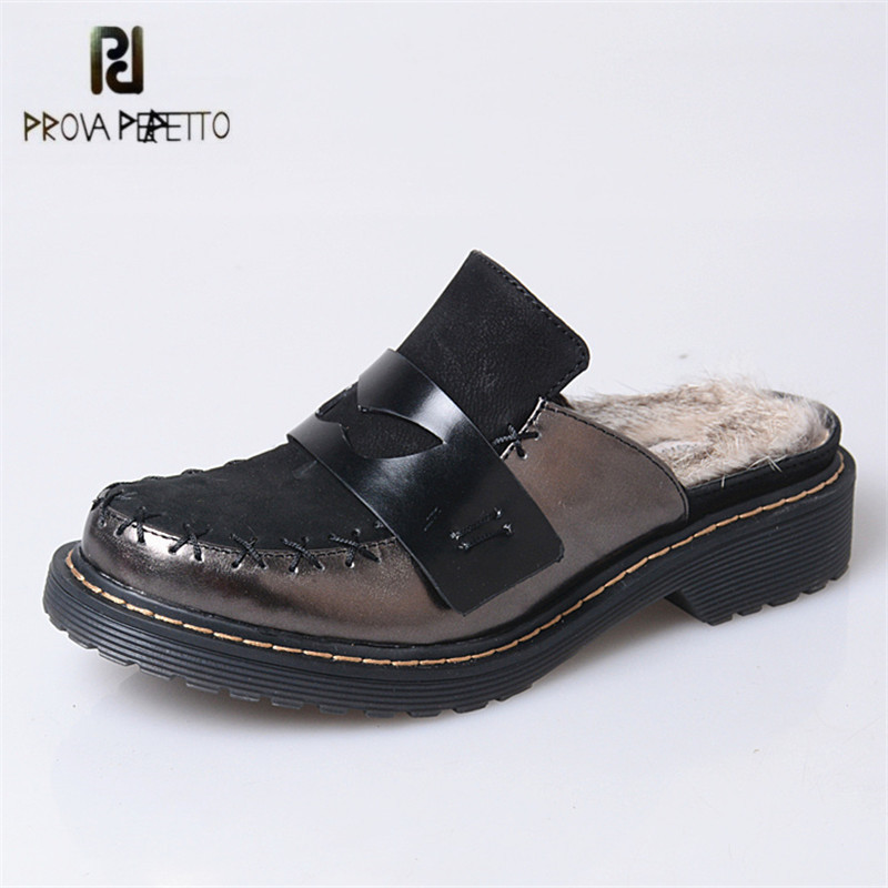 Prova Perfetto New Fashion Genuine Leather Women Rabbit Fur Slippers Outside Winter Warm Slipper Female Flat Rubber Shoes Woman new 2016 european brand designer winter warm flats black leather rabbit fur loafers metal decorated hot sell flat shoes women