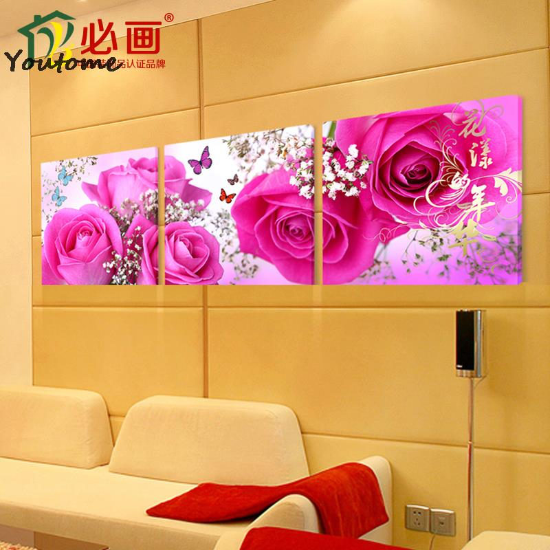 3 piece wall art flower abstract flowers paintings art canvas pink ...