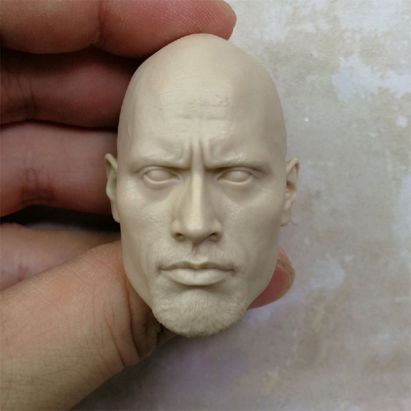 1/6 Scale Dwayne Johnson Head Sculpt Unpainted Suitable 12 Male Bodies Figures
