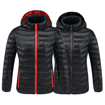 Men&women Intelligent Heated Jackets Winter Outdoor Hooded Waterproof Jackets Thermal Warm USB Heating Quickly Hiking Jackets