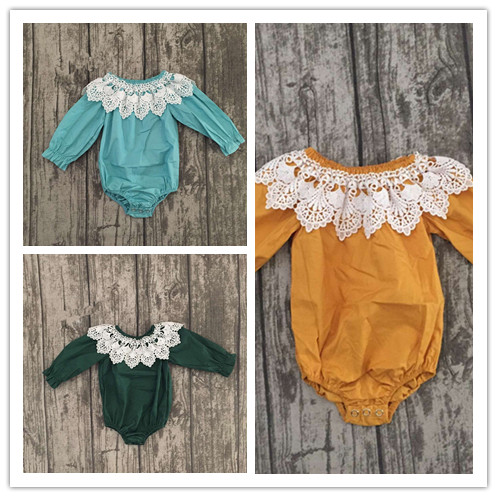 new arrival baby winter and Fall  romper clothing infant toddler baby girls romper 3 colors in stock lace trim toddler romper
