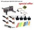 DIY raça mini drone FPV QAV250/ZMR250 H250 quadcopter quadro kit de carbono puro rack + 12A ESC BLheli + D2204 Especial preço