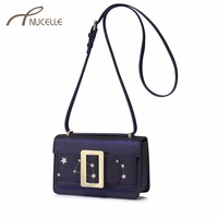 NUCELLE Women S Leather Messenger Bag Ladies Fashion Embroidery Five Star Shoulder Bags Female Leisure Flap