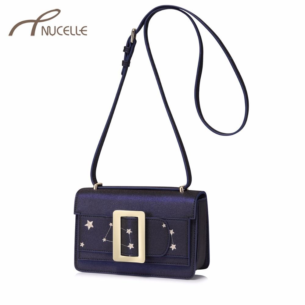 NUCELLE Women's Leather Messenger Bag Ladies Fashion Embroidery Five Star Shoulder Bags Female Leisure Flap Crossbody Purse