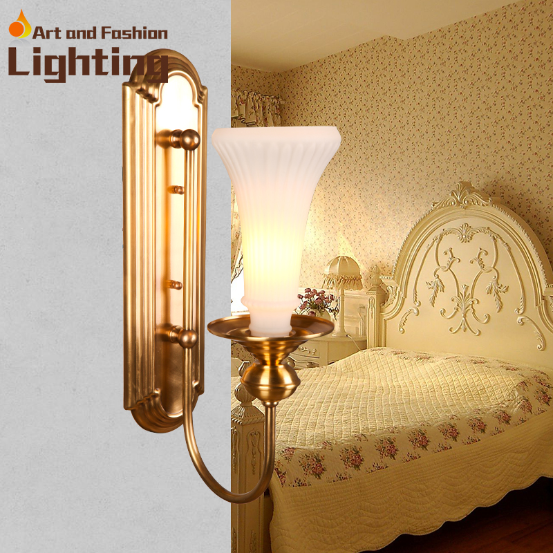 Golden Wall Lamps : European style copper wall lamp golden wall fitting LED lighting-in Wall Lamps from Lights ...