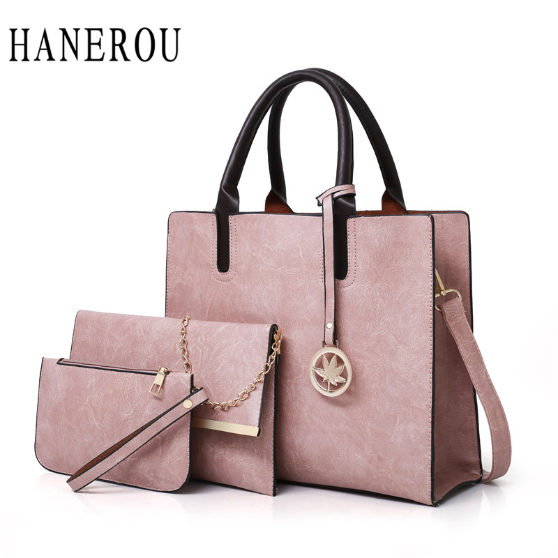 HANEROU 3 Pcs/Set Oil Wax Leather Women Bags High Quality Casual Female Bags Fashion Ladies Shoulder Bag Purses And Handbags chispaulo brand women handbag high quality oil wax leather ladies shoulder bags vintage female bags