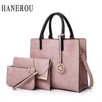 HANEROU 3 Pcs Set Oil Wax Leather Women Bags High Quality Casual Female Bags Fashion Ladies